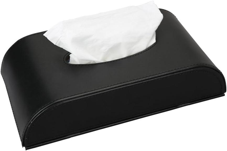 KINGFOM Leatherette Tissue Box Holder for Home Office, Car Automotive Decoration (ARC-Shaped Black)
