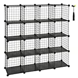 "SONGMICS Metal Wire Cube Storage,16-Cube Shelves Organizer,Stackable Storage Bins, Modular Bookcase, DIY Closet Cabinet Shelf, 48.4""L x 12.2""W x 48.4""H, Black ULPI44H"