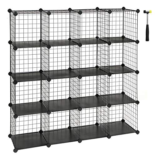 "SONGMICS 16-Cube Metal Wire Storage Cube, Storage Shelves Organizer,Stackable Storage Bins, Modular Bookcase, DIY Closet Cabinet Shelf with Rubber Mallet 48.4""L x 12.2""W x 48.4""H, Black ULPI44H"