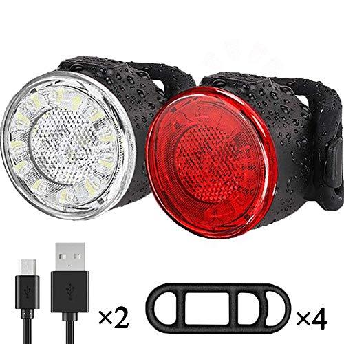 Luces Bicicleta, Impermeable LED Luz Bicicleta, Luces Delanteras y Traseras Recargables USB Para Bicicleta, 6…