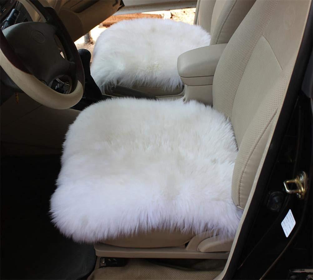 カーカーシートプロテクター用シートカバー 18インチの贅沢なシープスキンの長いウールのカーシートは椅子のパッドを覆います カーシートクッションカーシートマット (色 : Gray a single pad) B07PKN2DHX White a single pad  White a single pad