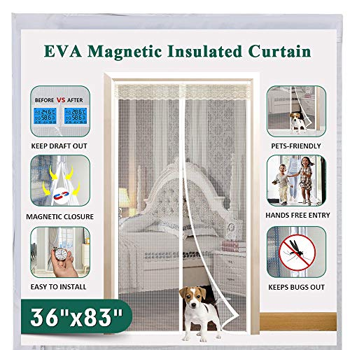 "Magnetic Insulated Door Fit Doors Up to 34""x82"", IKSTAR EVA Thermal Door Cover for Kitchen, Bedroom, Exterior/Interior/Doors with Draft Stopper, Kids/Pets Walk Through Free and Hands Free Closure"