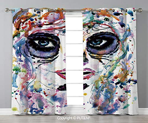 Grommet Blackout Window Curtains Drapes [ Sugar Skull Decor,Halloween Girl with Sugar Skull Makeup Watercolor Painting Style Creepy Decorative,Multicolor ] for Living Room Bedroom Dorm Room -