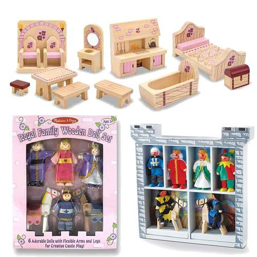 Melissa & Doug Deluxe Wooden Princess Castle Accessory Set: Prince Castle Furniture, Royal Family Wooden Doll Set, and Castle Wooden Figure Set