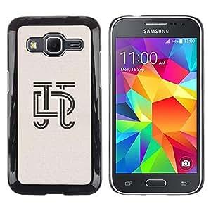 Funda para Smartphone carcasa rígida cubierta protectora para Samsung Galaxy Core Prime/funda TECELL Store/art deco letras Diseño de insignia de caligrafía