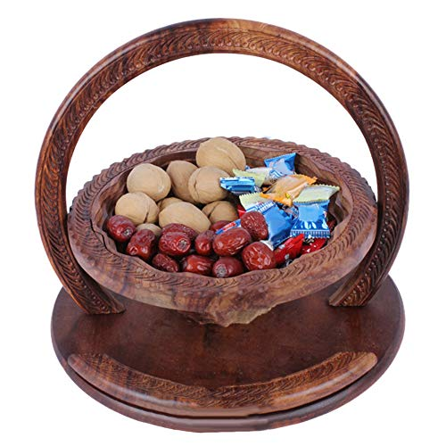 TTShonf Wooden Collapsible Fruit Bowl Carved Bread Basket 12inch Elegant Hand Crafted Wooden by TTShonf (Image #4)