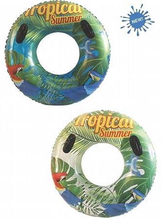Rueda tropical 90 cm. con asas hinchable flotador para piscina: Amazon.es: Juguetes y juegos