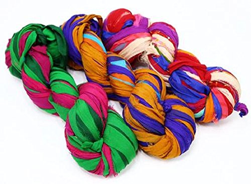 Paradise Fibers Recycled Sari Ribbon Yarn (Multi Color) - 3 Skein Bundle, 100 Grams, Approximately 25 Yards Per Skein