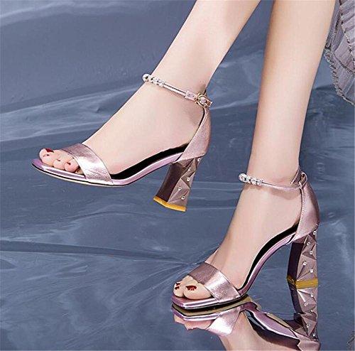 Toe véritable cuir talon xie à sandales soirée mariage en cheville Femmes bride strass la de robe Open de chaussures bloc wqIIgXr4H