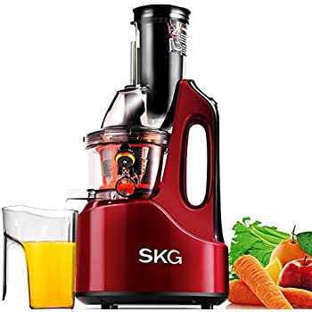 "SKG Wide Chute Anti-Oxidation Slow Masticating Juicer (240W AC Motor, 60 RPMs, 3"" Large Mouth) - Vertical Masticating Cold Press Juicer"