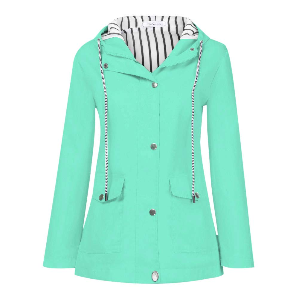 Shusuen Women's Waterproof Raincoat Hooded Rain Jacket Windbreaker Outdoor Trench Coats Mint Green by Shusuen_Clothes
