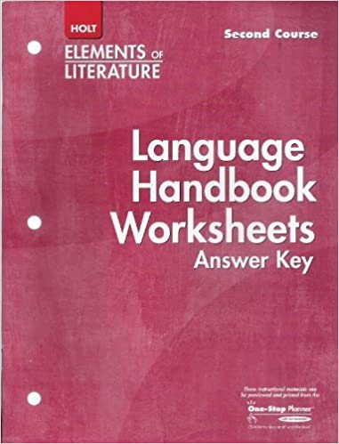 Language Handbook Worksheets Answer Key Elements of Literature ...