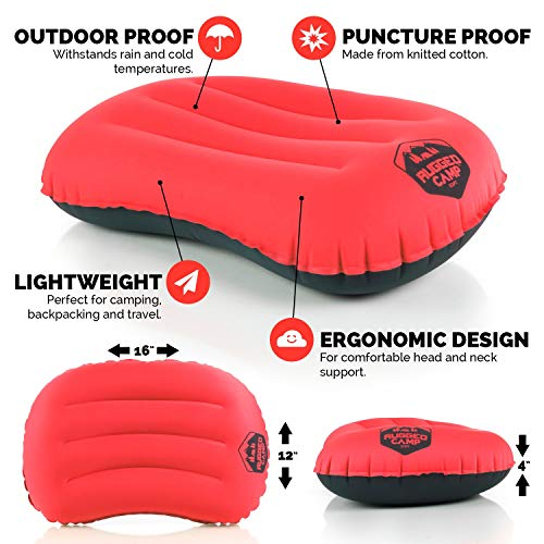 Rugged Camp Camping Pillow – Ultralight Inflatable Travel Pillows – Multiple Colors – Compressible, Lightweight…