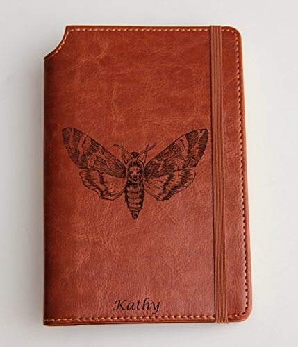 Death moth Journal laser engraved Journal leather bound, strip with the same color to keep it closed skull moth journal