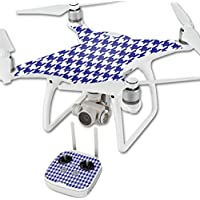 Skin For DJI Phantom 4 Quadcopter Drone – Blue Houndstooth | MightySkins Protective, Durable, and Unique Vinyl Decal wrap cover | Easy To Apply, Remove, and Change Styles | Made in the USA