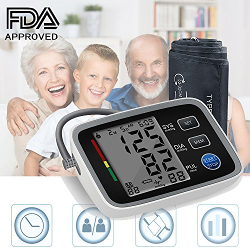 Blood Pressure Monitor Alture Portable Digital Automatic Upper Arm BP Monitor Adjustable Cuff Kit for Home Use with 2 User Mode 180 Reading Memory & Large Screen Display - FDA Approved