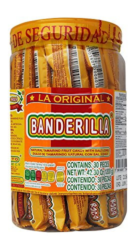 Banderilla Tama-Roca Tamarindo Mexican Candy Sticks. Contains 30 Pieces of Spicy Tamarind Candy With Salt And Chili.