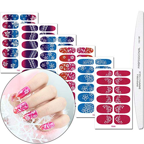 WOKOTO 6 Pieces Full Wraps Nail Art Polish Stickers With 1Pcs Nail File Lace GradientSelf-Adhesive Nails Decals Strips Manicure Set For Women ()