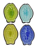 HomeThots Dipping Sauce Dish - Set of 4 Colored Ceramic Fish Shaped Sauce Bowl Suitable for Egg-roll, Sushi and Mustard Sauce