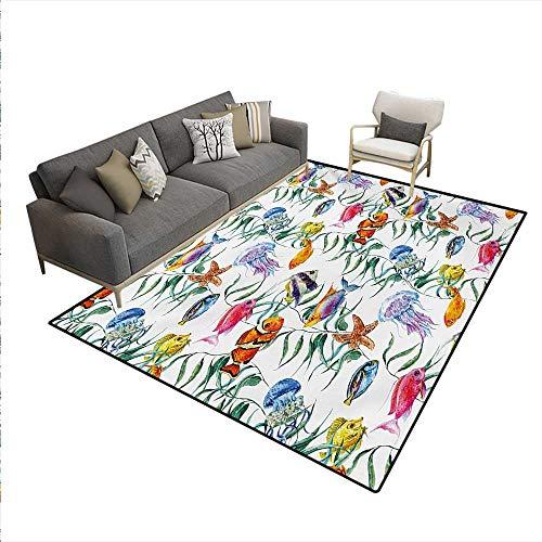 - Carpet,Tropical Coral Reef Seaweed Algae Jellyfish Aquatic Saltwater Nemo Theme,Rug Kid Carpet,Multicolor,6'6