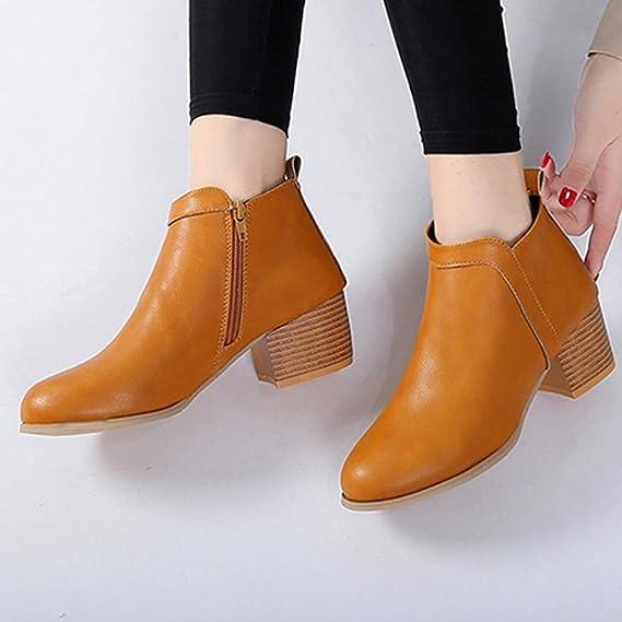 ❤ Botas Cortas de Moda para Mujer, Moda para Mujer Vintage tacón bajo, tacón Grueso, Bota Corta, Botines, Botas, Zapatos Absolute: Amazon.es: Ropa y ...