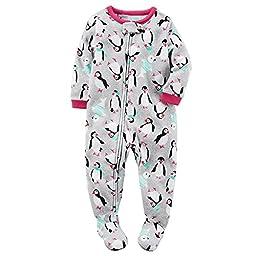 Carters Baby Girls 1-Piece Footed Fleece Pajamas Pjs Grey Penguin 12 Months
