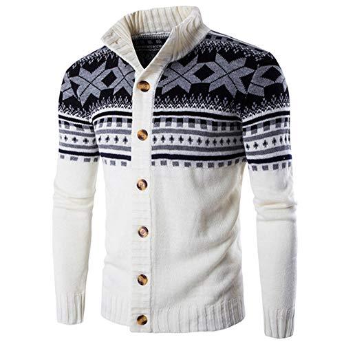 WodCht Men Sueter Hombre Sweater Men Autumn Winter Snowflake Thick Warm Knitwear Cardigan White M