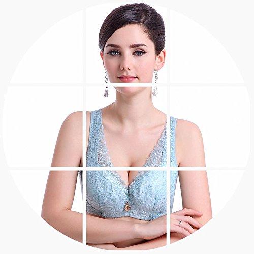 LXYFC-La primavera y el verano de sujetador tamaño delgado acérquense Furu significativamente pequeña ropa interior, Bra,Azul,38C = 85c