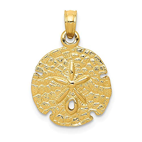 14k Yellow Gold Sand Dollar Sea Star Starfish Pendant Charm Necklace Man Shore Shell Fine Jewelry Gift For Dad Mens For Him ()