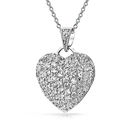 Large Pave Cubic Zirconia CZ Puff Heart Shape Pendant Necklace For Women For Teen 925 Sterling Silver