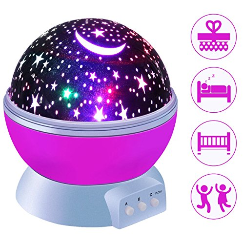 Petcaree Constellation Night Light, Romantic Room Rotating Star Projector Lamp, 4 Bright Colors with 360 Degree Moon Star Projection and Rotation, Moon Sky Night Projector, Baby Nursery Light, Pink