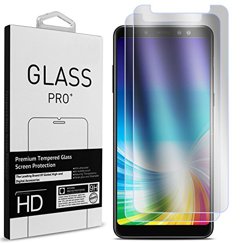 Price comparison product image Galaxy A8 Plus Screen Protector,  CoverON 2 Piece Premium Slim Fit Tempered Glass Screen Protectors for Samsung Galaxy A8 Plus 2018 - HD Clear