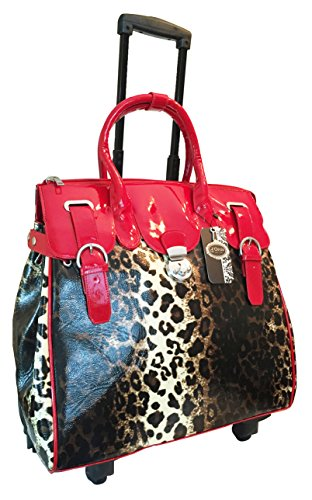 (Trendy Flyer Computer/laptop Large Bag Tote Duffel Rolling 4 Wheel Spinner Luggage Leopard Red)