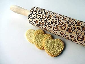 Rolling pin with HEARTS. Wooden rolling pin for embossed cookies with love hearts for wedding, birthday, Mother's Day, Valentine Day. Embossing rolling pin