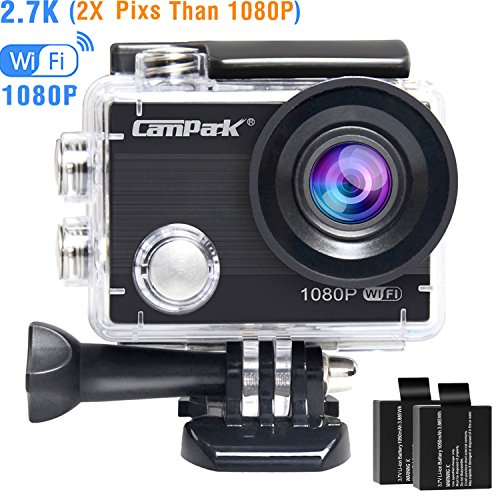 Campark ACT68 Action Camera Waterproof Camera WiFi 2.7K & FHD 1080P Underwater Video Cam with Mounting Accessories Kit