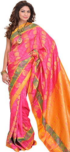 Exotic India Honeysuckle-Pink Sari from Bangalore with Self Weave and Woven Pais (Pink Indian Sari Adult Costume)