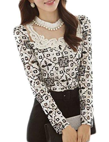 43 city Women's Elegant Slim Long Sleeve Lace Floral Chiffon Tops Shirt Blouse