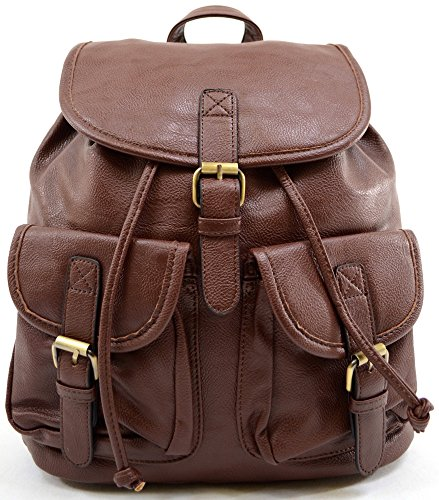 Womens Casual Leather Weekend Rucksack Travel Coffee Large Backpack Ladies Faux Holiday Aw7qxSAngd