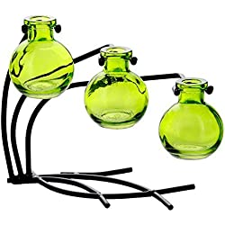 "Couronne Company M504-200-01 Casablanca Three Recycled Glass Vases & Metal Stand, 7 1/2"", Lime, 1 Piece"