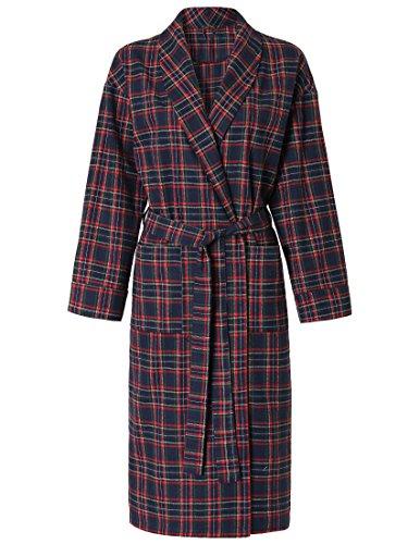 Flannel Robe - Latuza Women's Cotton Flannel Robe XL Red & Navy
