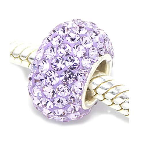 925 Sterling Silver June Birthstone Charm Bead Swarovski Crystal Elements fit All Charm Bracelets Women Girls Gifts EC684-6 (Zable Bead)