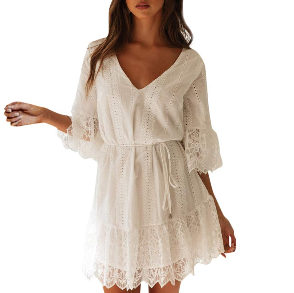 Caopixx Women Lace Dress Summer Ladies V-Neck Half Sleeve Patchwork Casual Beach Party Mini Dress White