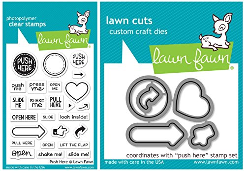Lawn Fawn - Push Here - Interactive Card Sentiments Stamp and Die Set by Lawn Fawn