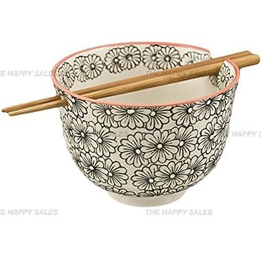 Happy Sales Ramen Udong Noodle Soup Cereal Bowl w/ Chopsticks (Arare)