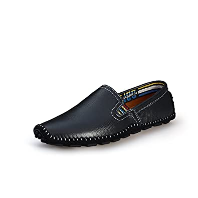 Minitoo Boy's Men's Chelsea Style Stitching Black Slip-On Spring Loafers ...