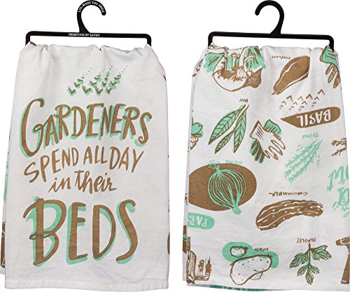 PBK Primitves by Kathy Tea Hand Towels Gardeners Spend All Day in Their Beds