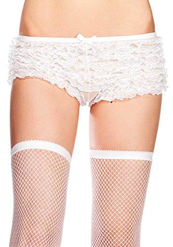 Leg Avenue Women's Plus-Size Lace Ruffle Tanga Shorts, White, 1X-2X