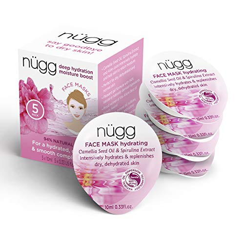 - nügg Hydrating and Moisturizing Face Mask for Dry, Dehydrated and Sensitive Skin; Boosts Skin's Moisture Level and Erases Dry Spots and Flakiness; 94 Percent Natural; 5 Pack of Masks (5 x 0.33 fl.oz.)