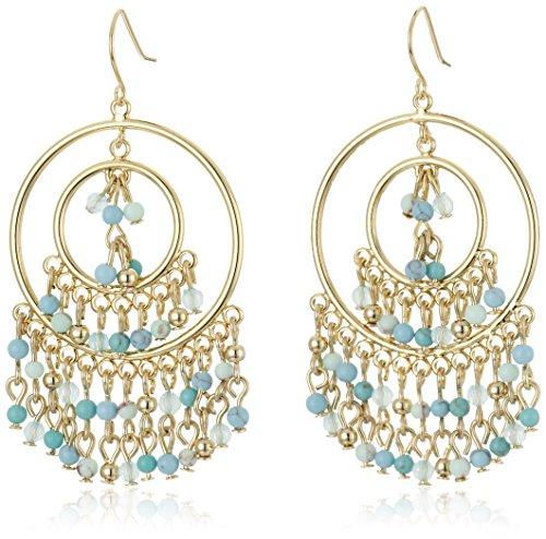 Line Round Glass Bead (Carolee The Blue Line Gypsy Hoop Pierced)