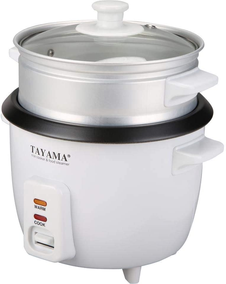 Tayama Rice Cooker with Steam Tray 3 Cup, White (RC-03R)